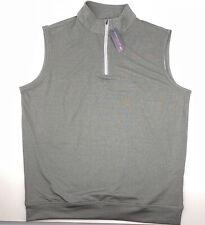 Nwt Peter Millar Crown Sport Quarter Zip Vest Smoke Gray Culligan Water
