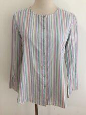 J.Jill Snap-Front Shirt Blouse Pastel Multi-Color Stripes Size XS