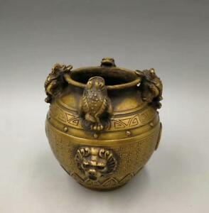 Chinese pure brass golden toad dragon head gold money pot