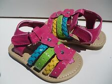 New Sandals for Toddler Girls, White & Hot Pink.