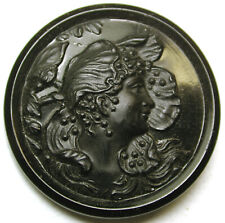 Antique Black Glass Button Pretty Art Nouveau Woman Design - 7/8 - 1880s
