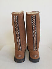 UGG ULTIMATE TALL BRAID CHESTNUT SHEARLING LEATHER BOOT US 10 / EU 41 / UK 8.5