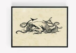 Vintage Mermaid Print Picture Wall Art Unframed home Decor A4 1