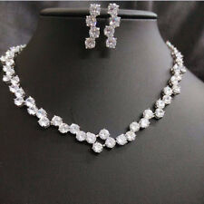 18k White Gold Tennis Necklace Earrings Set made w/ Swarovski Crystal Bridal