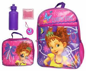 Nancy Fancy Little Girls School Large Backpack Lunch Box Book Bag 5 Piece SET