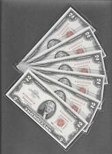 1963 - ( 6 ) $2 GEM UNC Red Seal Consecutive Notes