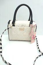BETSEY JOHNSON Handbag*White/Black Mini Barrel*Messenger Satchel*Quilted Floral