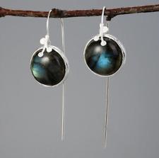 Natural Gemstone Labradorite Leaf Sterling Silver Dangle Drop Hook Earrings