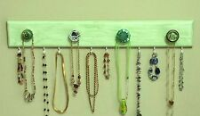 """Handmade Necklace Hanger Wood  Lime Green """"Weathered Look"""" w/Decor Knobs/Hooks"""