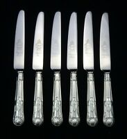 "6 HEAVY VINTAGE SILVER PLATED KINGS PATTERN DINNER TABLE KNIVES 9.5"" SHEFFIELD"