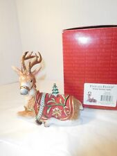 Fitz & Floyd Winter Holiday Santa's Reindeer Stag Lidded Figurine w/ Box