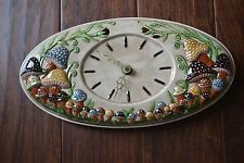 Large Vintage Ceramic Mushroom Clock | 1970's | 14"