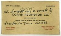 Coffin Redington Co Wine Liquor Tom Bath Reno Nevada 1938 Vintage Business Card