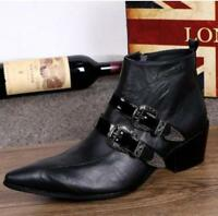 Mens Punk buckle metal Party ankle boots pointy toe Cuban heel side zipper shoes