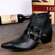 Mens Punk Pointy Toe Cuban Heel Ankle Boots Buckle Metal Party Side Zipper Shoes