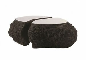 """48"""" L Two Piece Coffee Table Resin Composite Stainless Steel Top 1180"""