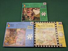 3 Vintage Warren Children's Classics 20 Piece Wood Puzzles 1986 Complete