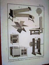 21-61-20 Gravure XVIIIe espade hollandaise moulin pour affiner le lin Panckoucke