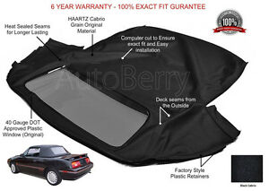 Mercury Capri Convertible Top Replacement With Plastic Window Fits July1992-1994