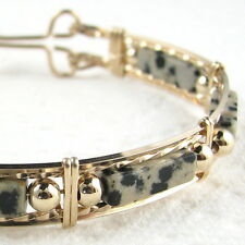 Dalmation Jasper Stone Bangle Bracelet 14K Gold Filled Jewelry Multi-Color 7.5