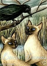 ACEO LE art print Cat 189 siamese crow raven from original painting by L.Dumas