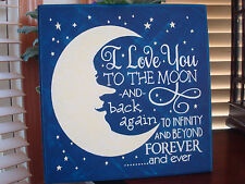 I Love You To The Moon and Back CANVAS Sign Stars Man in the Moon Decor