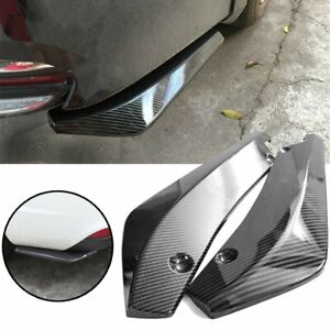 2x Car Auto Carbon Fiber Rear Bumper Lip Diffuser Splitter Canard Protector USA