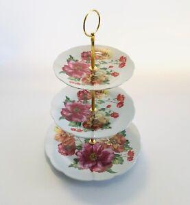 3 TIER VINTAGE FLORAL CERAMIC CAKE STAND CUPCAKE WEDDING PLATE TEA