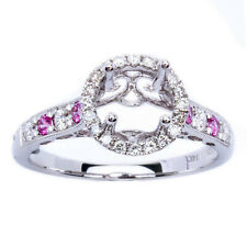 .42ct Genuine Halo Pink Sapphire & Diamond Semi Mount Engagement Wedding Ring