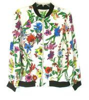 Susan Graver Bomber Jacket Peachskin Large Floral Zip Front A351018 Womens H709