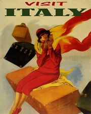 TRAVEL FUN VISIT ITALY WOMAN LIPSTICK LUGGAGE 8X10 VINTAGE POSTER REPRO FREE S/H