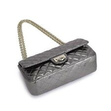 UScarmen Women's Quilted Raindrops Sheepskin Chain Shoulder Bag 1548 SILVER