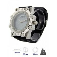 ICE MASTER SILVER,PAVE+CRYSTALS BEZEL,BLING,OVERSIZE BLACK RUBBER MEN'S WATCH