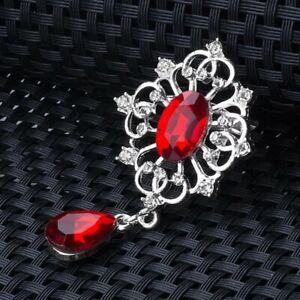 Silver Vintage Victorian Style Red Teardrop Brooch Pin