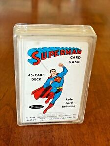 *Vintage* '66 Whitman SUPERMAN Card Game With Rules -Original Plastic Container