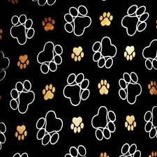 PAW PRINTS SET OF 4 COASTERS RUBBER WITH FABRIC TOP