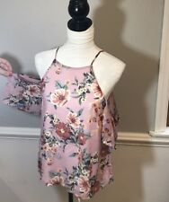 Charlotte Russe Size S Floral Could Shoulder Top Blouse Multicolor