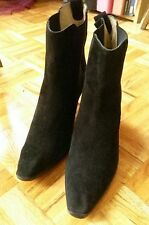 Michael Kors black suede or faux suede pull on ankle boots booties heels 9.5