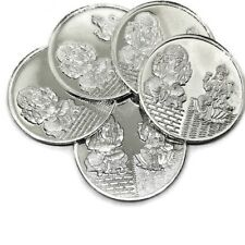 Ganesha Lakshmi / Laxmi Pure Silver (999) Ten Gram Coin (Set of Five Coin)
