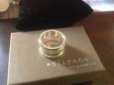 Silpada Twirl Ring Brass, Sterling Silver. Size 8 R2293 W/B in Suede Pouch.
