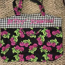 Betsey Johnson Pink Rose Flower Gingham Black Tote White Bag