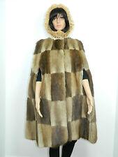 MUSKRAT FUR HOODED COAT CAPE  LYNX FUR TRIM One size