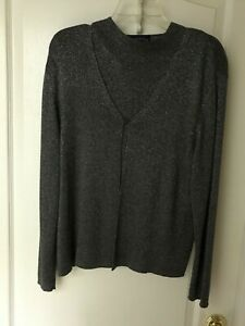 CHARTER CLUB HOLIDAY SWEATER & CARDIGAN BLACK & SILVER GLITTER SZ XL