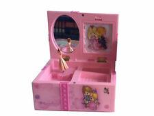 GIRLS PINK BALLERINA KIDS MUSICAL JEWELRY & TRINKET BOX MIRROR + PHOTO HOLDER