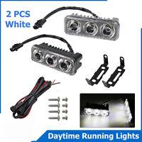 2X 3 LED Daytime Running Lights Car Driving DRL Fog Lamp Light 12V Super White