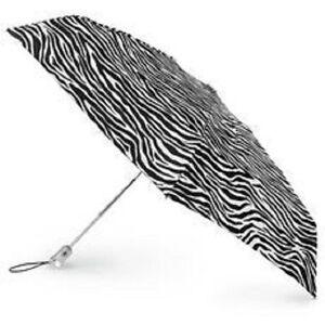 Totes Automatic Open Manual Close Compact Umbrella Zebra Large Size Arc NWT