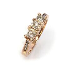 0.5 ctw Natural Princess Cut Diamond Solid 14k Rose Gold 3 Stone Engagement Ring