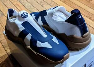 "$625 Mens Maison Margiela ""New Replica"" Knit Sneakers White/Blue 44 US 11"