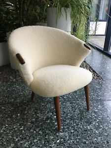 Vintage Danish Lounge Chair in Lambswool