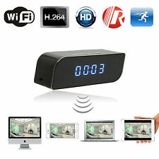 HD 720P Wireless Wifi IP Clock Spy Hidden Camera IR Security Network Web Cam DVR